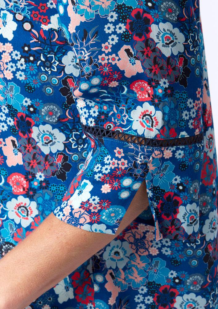 Tunique Fleurie bleu