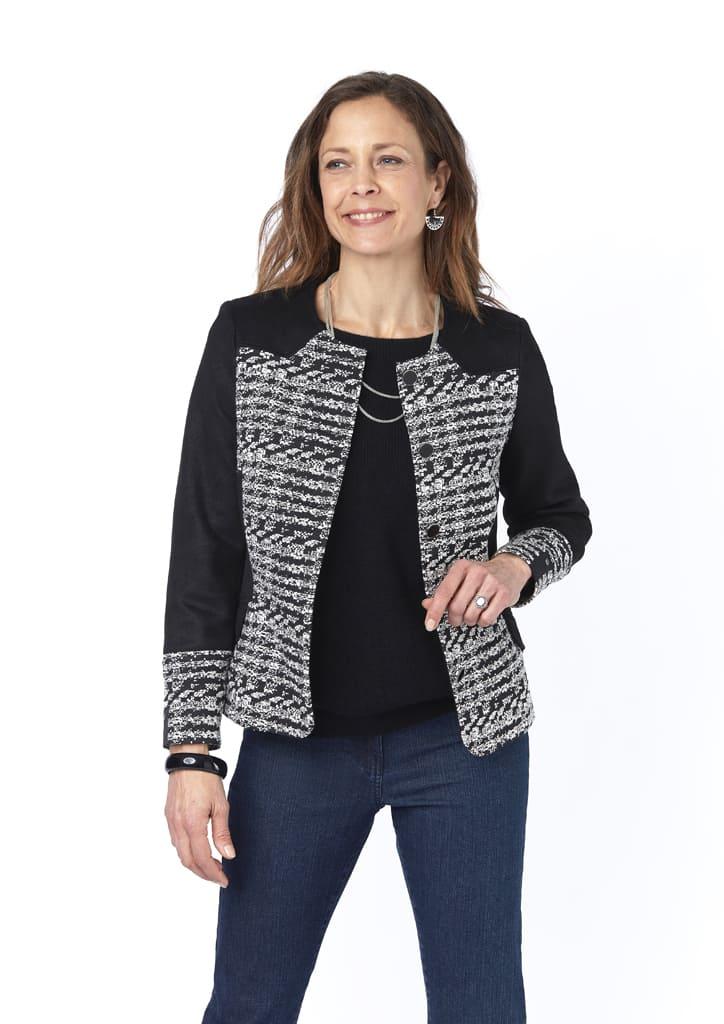 veste aux couleurs noir et blanc marisol isis collection