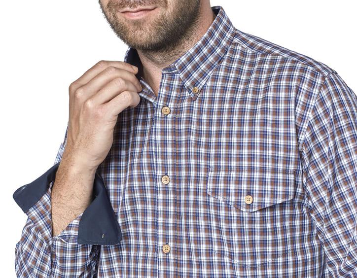 borja chemise homme marron bleu